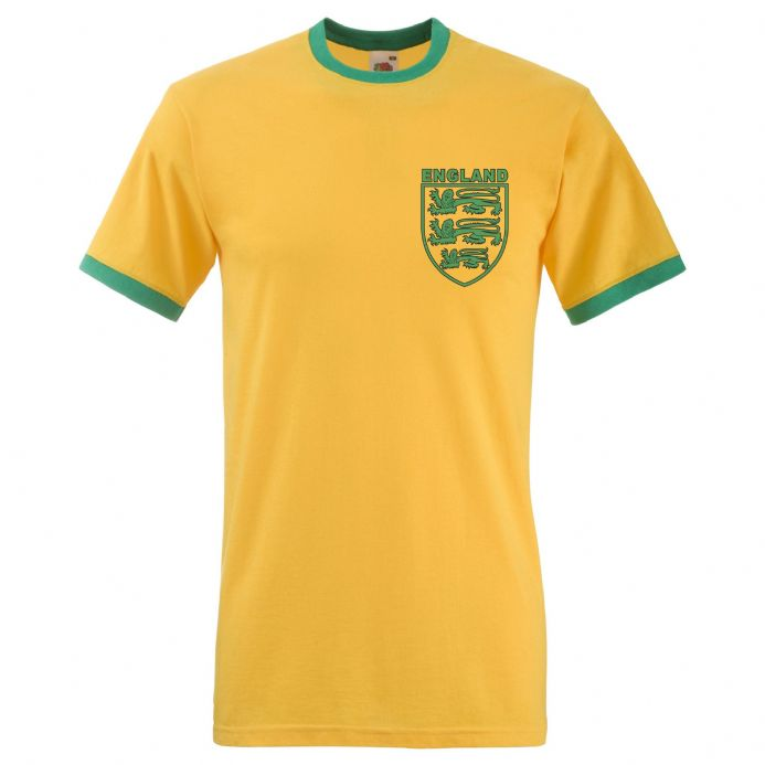 England Three Lions Yellow Retro T-Shirt